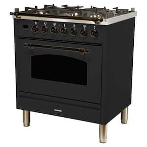 30 in. 3.0 cu. ft. Single Oven Dual Fuel Italian Range with True Convection, 5 Burners, Bronze Trim in Matte Graphite