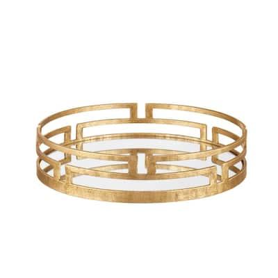 Gold Metal Decorative Round Mirror Tray