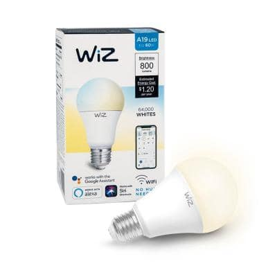 60-Watt Equivalent A19 Tunable Wi-Fi Connected Smart LED Light Bulb White (4-Pack)