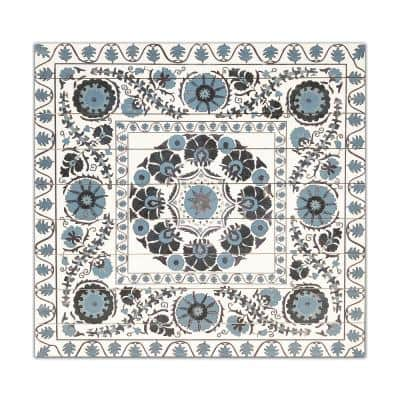 Blue Suzani Planked Wood Pattern Abstract Art Print 29 in. x 29 in.