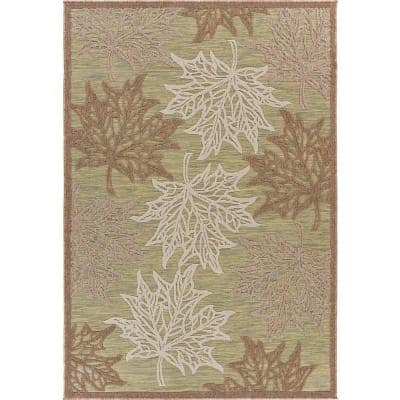 Retreat Green 7 ft. 9 in. x 9 ft. 9 in. Maple Leaves Fall Indoor/Outdoor Area Rug
