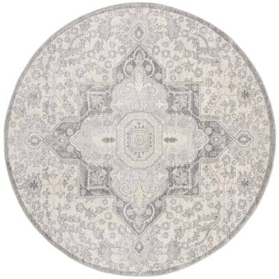 Brentwood Gray/Cream 7 ft. x 7 ft. Round Area Rug