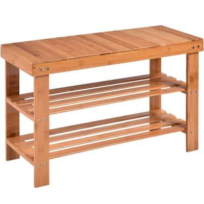 18 in. H x 28 in. W 8-Pair Natural Bamboo Shoe Storage Bench Rack Organizer