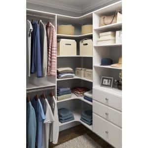 30 in. W White Corner Wood Closet System