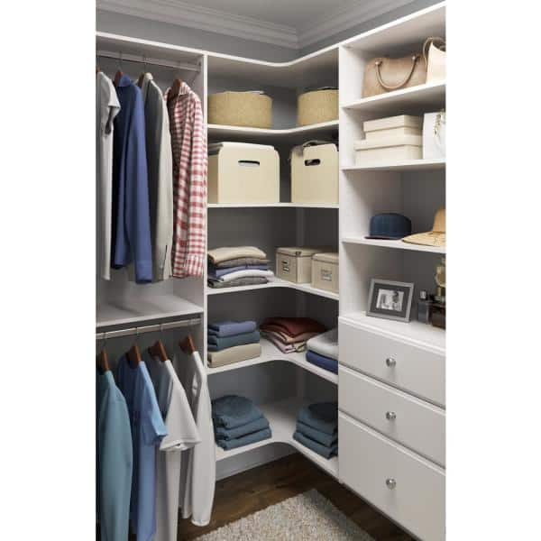 Closet Evolution 30 In W White Corner Wood Closet System Wh31 The Home Depot