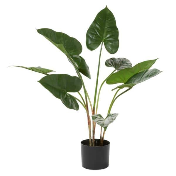 Litton Lane 18 In H Tall Artificial Anthurium Leaf Plant With Metal Pot For Indoor Decor 88281 The Home Depot