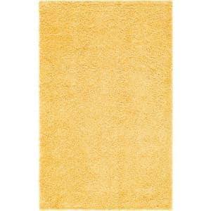 Davos Shag Sunglow Yellow 5 ft. x 8 ft. Area Rug