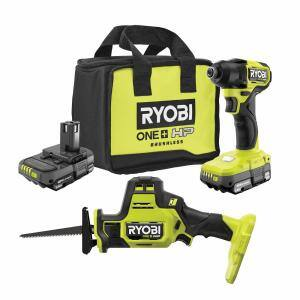 ONE+ HP 18V Brushless Cordless Compact 1/4 in. Impact Driver and One-Handed Recip Saw Kit with (2) Batteries, Charger