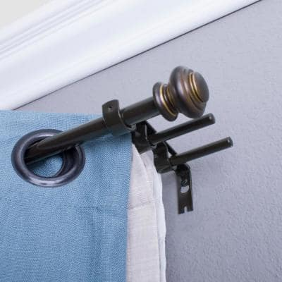 42 in. - 120 in. Double Curtain Rod in Oil Rubbed Bronze