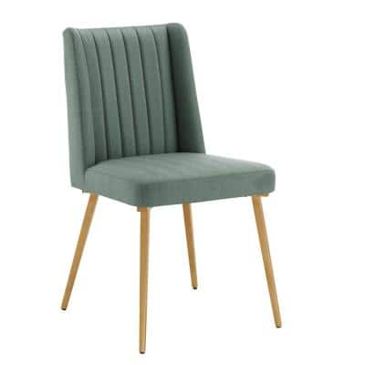Light Green Fabric Gold Finish Dining Chairs (Set Of 2)