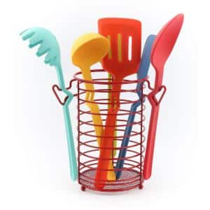 7-Piece Silicone Utensil Set with Wire Caddy