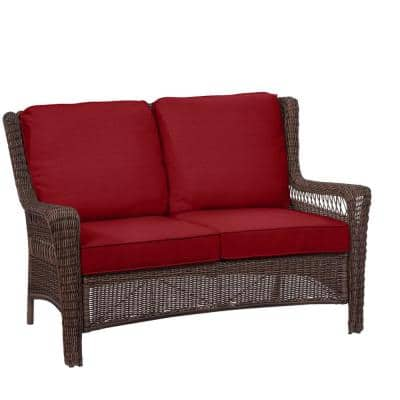 Park Meadows Brown Wicker Outdoor Patio Loveseat with Standard Chili Red Cushions
