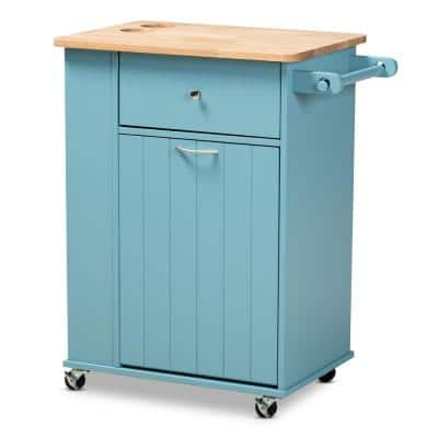 Liona Blue Kitchen Cart with Natural Wood Top