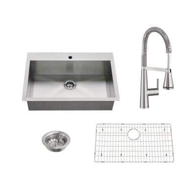 Edgewater All-in-One Undermount Stainless Steel 33 in. Single Bowl Kitchen Sink with Faucet in Stainless Steel