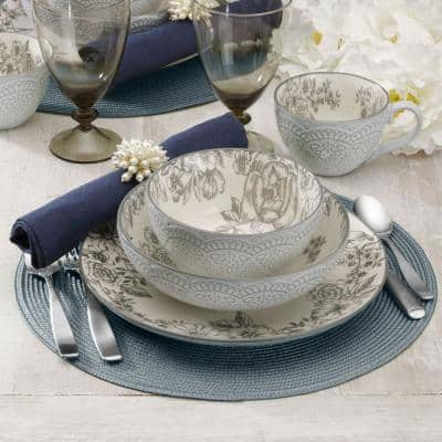 Gabriela 16-Piece Casual Gray Stoneware Dinnerware Set (Set for 4)