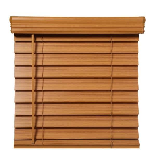 Home Decorators Collection Chestnut Cordless Room Darkening 2 5 In Premium Faux Wood Blind For Window 72 In W X 64 In L 10793478395439 The Home Depot