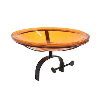 14 in. Dia Mandarin Orange Reflective Crackle Glass Birdbath Bowl with Over Rail Bracket