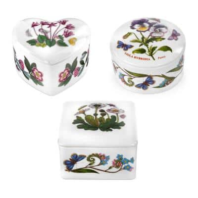 Botanic Garden White 3.5 in. Decorative Boxes (Set of 3)