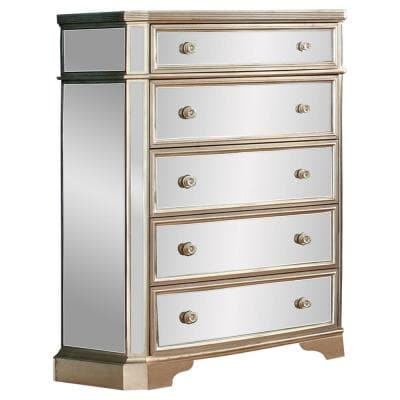 Alicia 5-Drawer Silver Gold Mirrored Chest