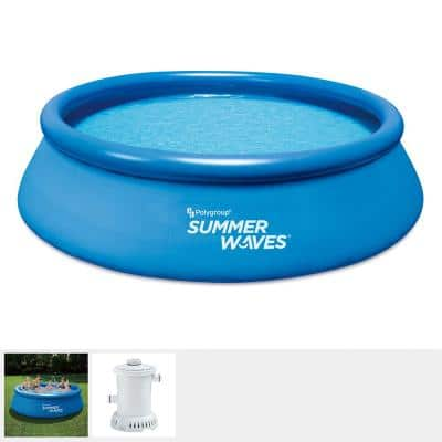 12 ft. x 36 in. D Round Inflatable Above Ground Pool Ring Quick Set with RX600 Filter System