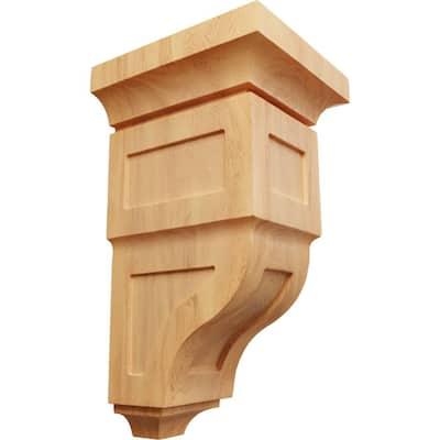 7 in. x 14 in. x 7-3/4 in. Red Oak Jumbo Reyes Wood Corbel