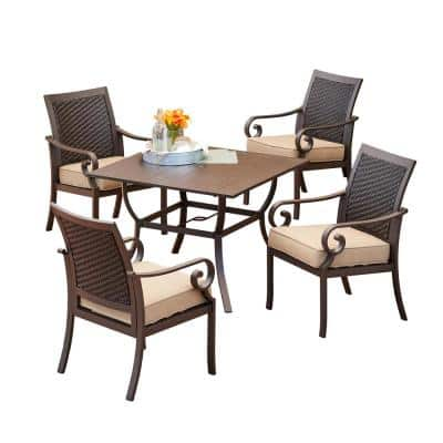 Milano 5-Piece Aluminum Outdoor Dining Set with Tan Cushions