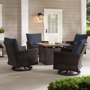 Lakeline 5-Piece Brown Metal Outdoor Patio Fire Pit Swivel Seating Set with CushionGuard Sky Blue Cushions