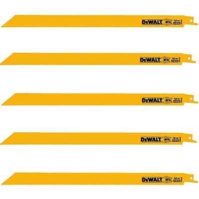 12 in. 14 Teeth per in. Straight Back Bi-Metal Reciprocating Saw Blade (5-Pack)