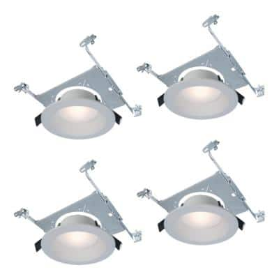 RL 6 in. Color Selectable New Construction or Remodel Canless Recessed Integrated LED Kit with Mount Frame (4-Pack)