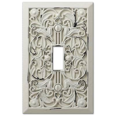 Filigree 1 Gang Toggle Metal Wall Plate - White