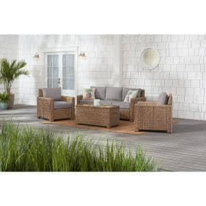 Laguna Point 4-Piece Natural Tan Wicker Outdoor Patio Conversation Seating Set with CushionGuard Stone Gray Cushions