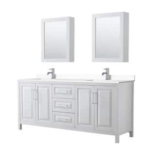 Daria 80''W x 22''D Double Vanity in White w/ Cultured Marble Vanity Top in White w/ Basins & Med Cabs