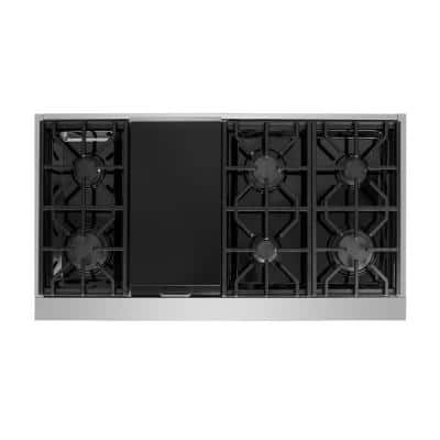 Entree Bundle 48 in. Pro-Style Gas Cooktop with 6 Burners, Griddle Burner and Range Hood in Stainless Steel and Black