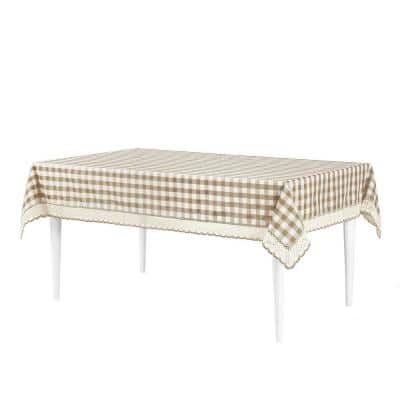 Buffalo Check 60 in. W x 120 in. L Taupe Checkered Polyester/Cotton Rectangular Tablecloth