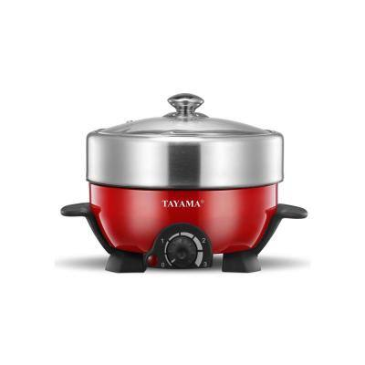 Shabu and Grill 3 Qt. Red Electric Multi-Cooker with Stainless Steel Pot