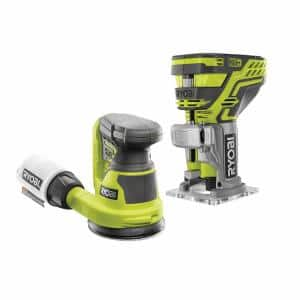 ONE+ 18V Lithium-Ion Cordless Fixed Base Trim Router and 5 in. Random Orbit Sander (Tools Only)