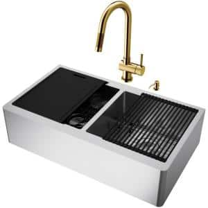 Oxford Stainless Steel 36 in. Double Bowl Farmhouse Apron-Front Workstation Kitchen Sink with Faucet and Accessories