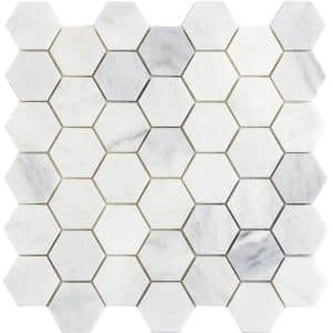 Winter Frost Hexagon Mix 12 in. x 12 in. x 10 mm Marble Mosaic Tile (0.98 sq. ft.)