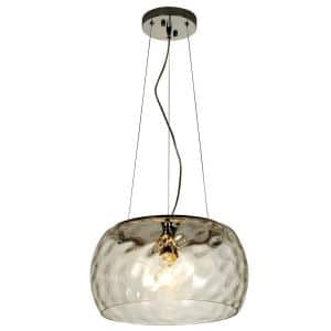 Mystere 1-Light Polished Chrome Pendant With Dimpled Glass Shade