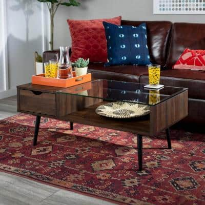 Mid 42 in. Dark Walnut Large Rectangle Glass Coffee Table with Drawers
