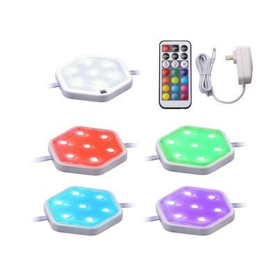 LED Puck Light Kit, RGB Color Changing, (5-Pack)