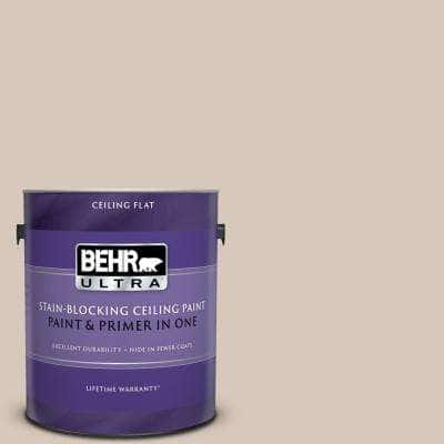 1 gal. #PPU5-12 Almond Wisp Ceiling Flat Interior Paint and Primer in One