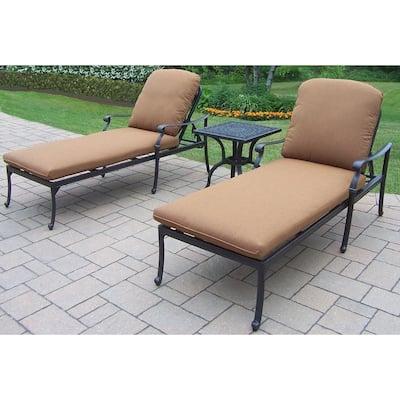 Hampton 3-Piece Patio Chaise Lounge Set with Sunbrella Cushions