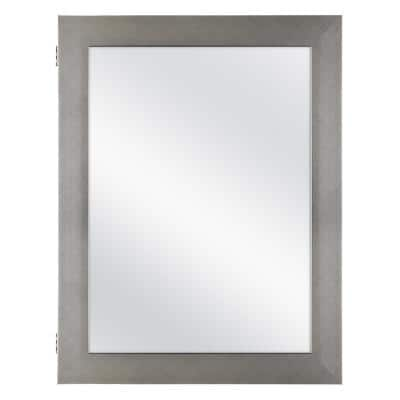 20 in. x 26 in. Recessed or Surface Mount Framed Medicine Cabinet in Pewter