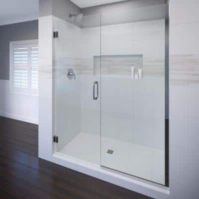 Celesta 47 in. x 76 in. Semi-Frameless Pivot Shower Door and Inline Panel in Chrome with Handle