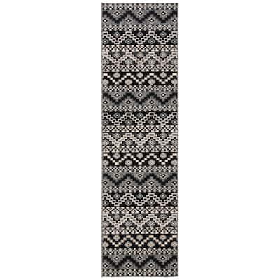 Veranda Black/Beige 2 ft. x 10 ft. Aztec Tribal Indoor/Outdoor Runner Rug
