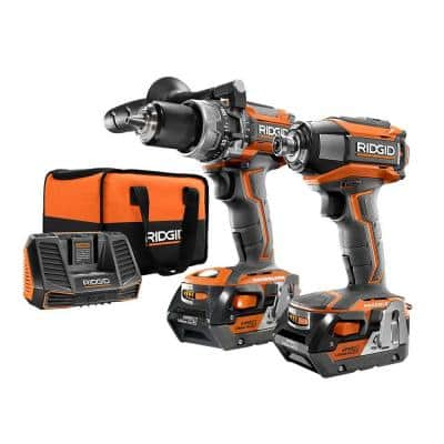 18-Volt Lithium-Ion Cordless Brushless Hammer Drill and Impact Driver 2-Tool Combo Kit with (2) 4.0Ah Batteries, Charger