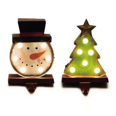 4.92 in. L x 3.54 in. W x 7.48 in. H Marquee LED Snowman Head and Tree Stocking Holder Set of 2