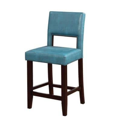 Blue and Brown Wooden Counter Stool with Padded Seat and Open Backrest