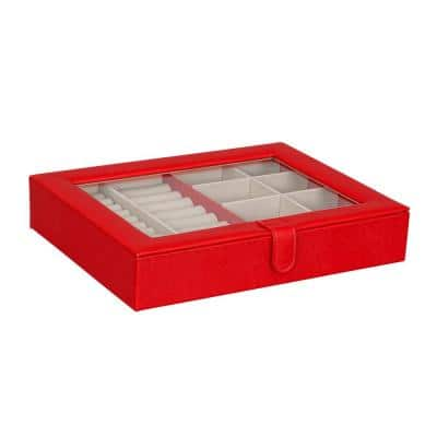 Crystal Glass Top Fashion Jewelry Box in Textured Red Faux Leather
